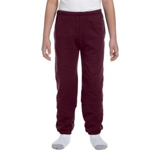 Super Sweats Youth Maroon Polyester Sweatpants With Pockets