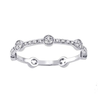 Beverly Hills Charm 10k White Gold 1/4ct TDW Diamond Stackable Eternity Band Ring