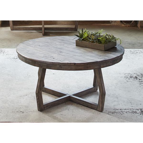 Hayden Way Gray Wash Reclaimed Wood Round Cocktail Table Free Shipping Today