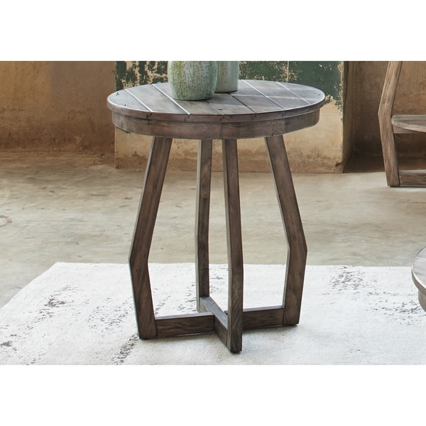 Hayden Way Gray Wash Reclaimed Wood Round Chair Side Table