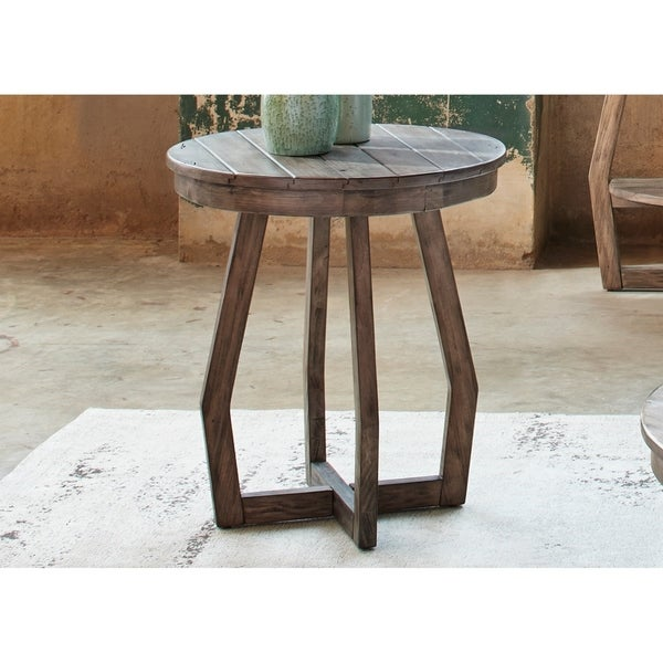 Shop Pine Canopy Redwood Gray Wash Round Chair Side Table Ships To - Redwood side table