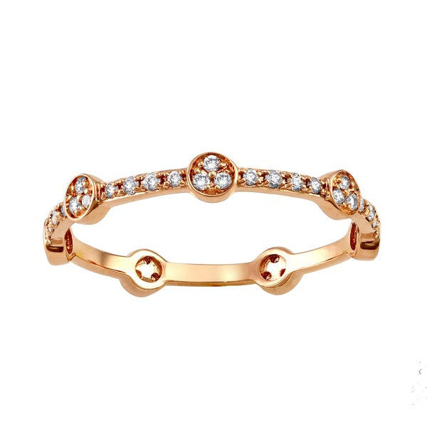 10k Pink Gold 1/4ct TDW Diamond Stackable Eternity Band Ring