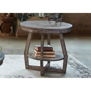 Hayden Way Gray Wash Reclaimed Wood Round End Table
