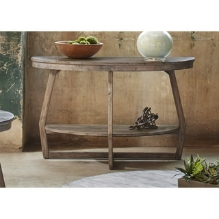 Hayden Way Gray Wash Reclaimed Wood Round Sofa Table