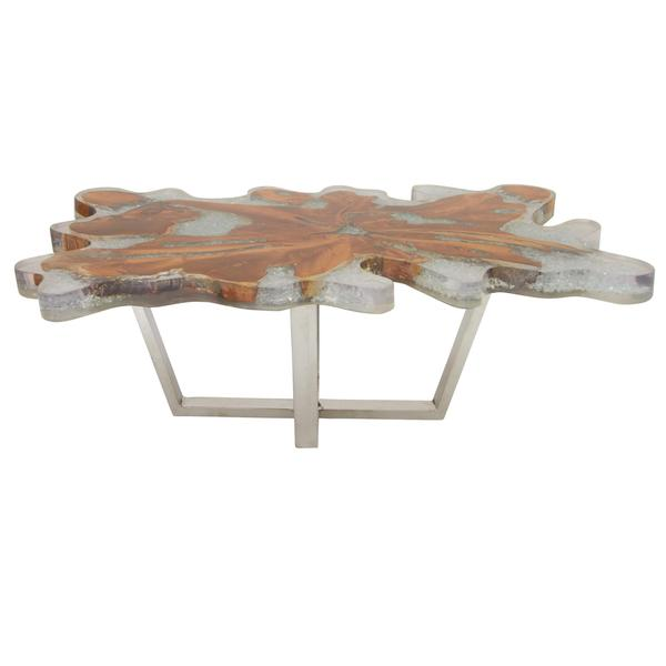 natural teak/resin/stainless steel coffee table - free shipping