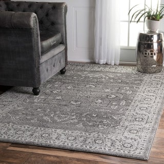 nuLOOM Traditional Border Bouquet Grey Rug (4' x 6')