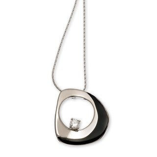 Black Enamel Rhodium Overlay Necklace