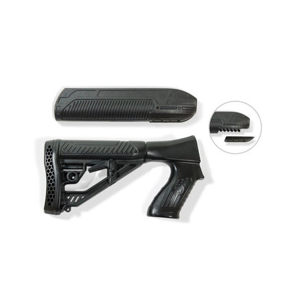 Adaptive Tactical EX Performance Forend and M4 Style Stock for Remington 870 12g, Black