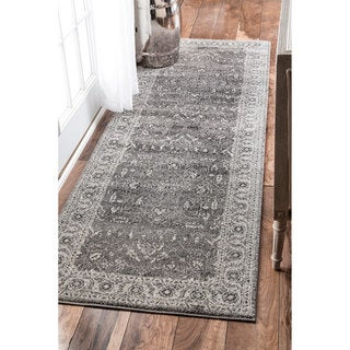 nuLOOM Traditional Border Bouquet Grey Runner Rug (2'8 x 8')