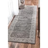 "nuLOOM Traditional Border Bouquet Grey Runner Rug (2'8 x 8') - 2'8"" x 8' runner"