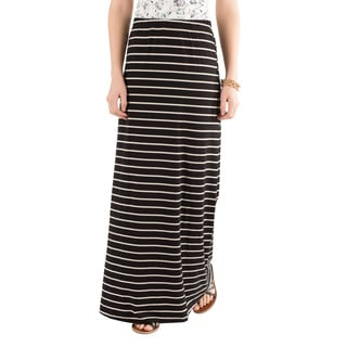 DownEast Basics Women's Jet Away Black and White Striped Maxi Skirt