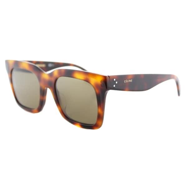 2ac6e077d192 Shop Celine CL 41411 F 05L Luca Havana Plastic Grey Lens Square Sunglasses  - Free
