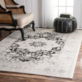 nuLOOM Vintage Traditional Border Bouquet Ivory Rug (5' x 7'5)