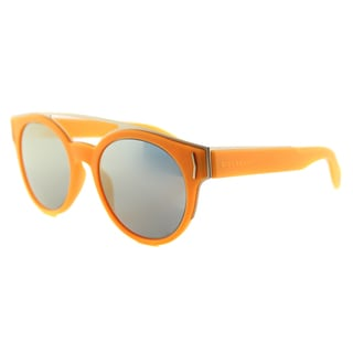 Givenchy GV 7017 VFB Fluorescent Orange Gold Mirror Lens Round Sunglasses