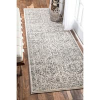 nuLOOM Traditional Honeycomb Grey Runner Rug - 2'8 x 8'