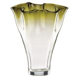 Lenox Organics Ruffle Green Hue Crystal Vase