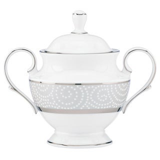 Lenox Pearl Beads White China Sugar Bowl with Lid