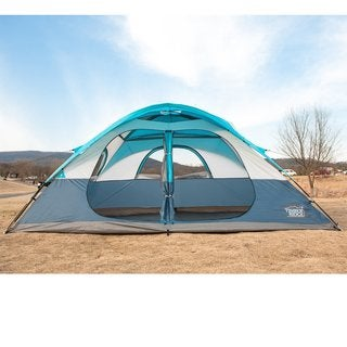 TimberRidge Polyester 2-door/2-room Family Camping Tent with Carry Bag