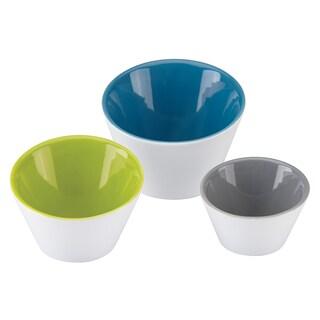 Dansk Burbs Decal Set of 3 Slant Bowls in Blue