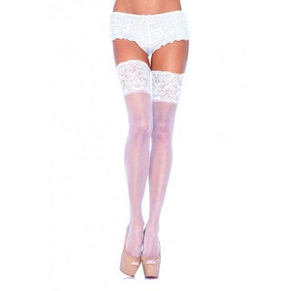 Leg Avenue Sheer Thigh High with Lace Top