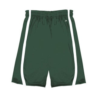 B-Slam Youth Forest Green/White Reversible 6-inch Shorts with Contrasting Side-panel Trim