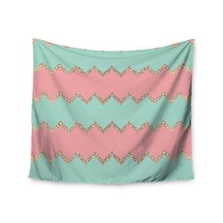Kess InHouse Monika Strigel 'Avalon Soft Coral and Mint Chevron' 51x60-inch Wall Tapestry