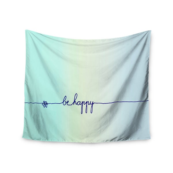 Kess InHouse Monika Strigel 'Be Happy Aqua' 51x60-inch Wall Tapestry