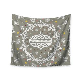 Kess InHouse Miranda Mol 'Deco Wreath Silver' Gray 51x60-inch Wall Tapestry