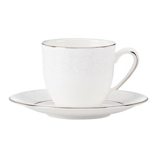 Lenox Artemis White/Goldtone China Espresso Cup and Saucer