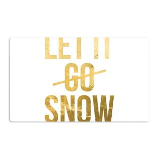 KESS InHouse KESS Original 'Let it Snow' Metallic Typography Artistic Aluminum Magnet