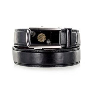 Faddism Unisex Lion's Pride Black Genuine Leather Belt