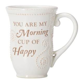 Lenox French Perle White Happy Sentiment Mug