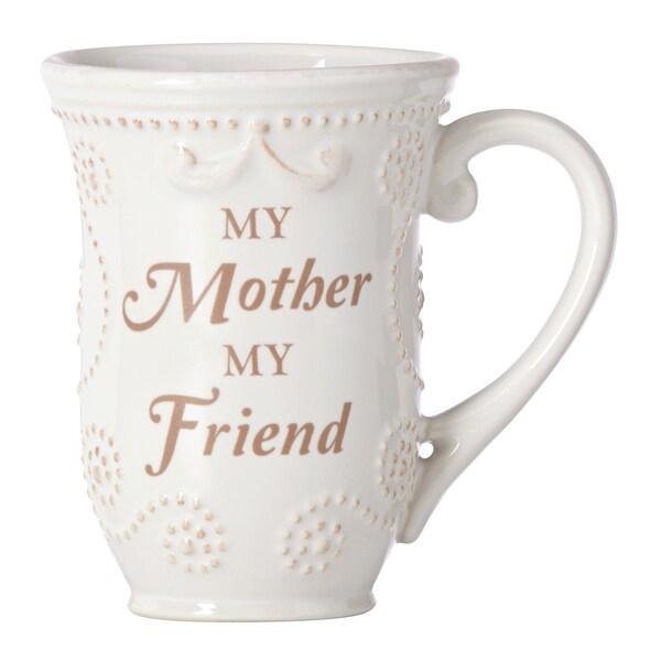 "Lenox French Perle White ""Mom"" Sentiment Mug"