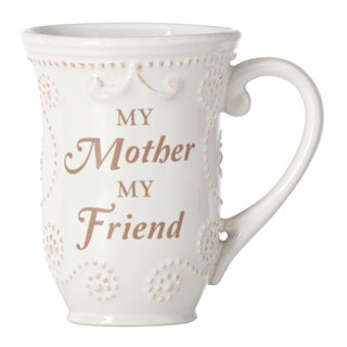 "Lenox French Perle White ""Mom"" Sentiment Mug"