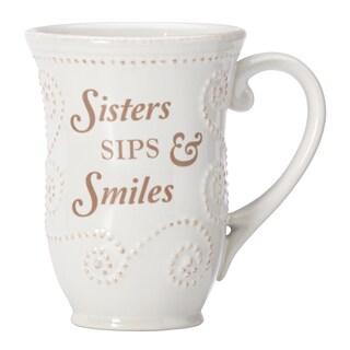 Lenox French Perle White Stonewear 12-ounce Sister Sentiment Mug