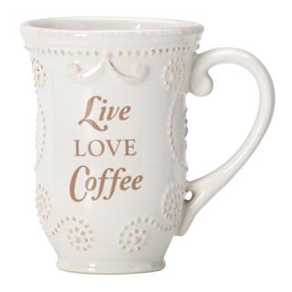 "Lenox French Perle White ""Live Love Coffee"" Mug"