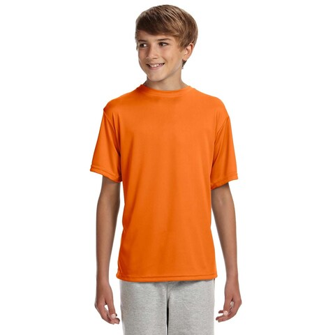 Cooling Boys' Safety Orange Polyester Performance T-shirt