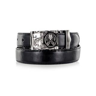 Faddism Unisex Gun and Skulls Black Genuine Leather Belt