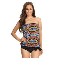Women's Multicolor Nylon and Spandex Beadwork Bandeau Blouson Tie Tankini