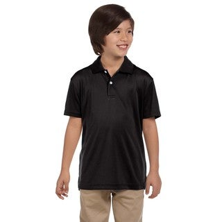 Youth Black Polyester Polo T-shirt