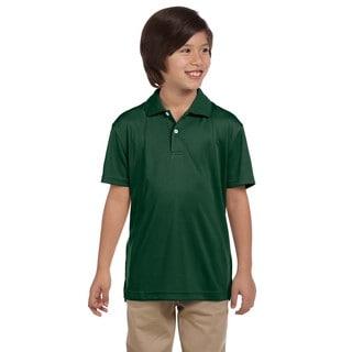Boys' Dark Green Polyester Double Mesh Sport T-shirt