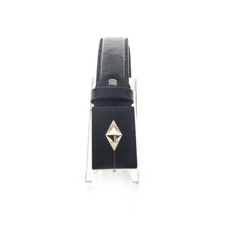 Faddism Unisex Pyramid Black Genuine Leather Belt