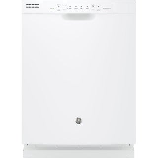 GE White and Black Stainless Steel and Plastic Full Console Dishwasher - Stainless Steel White