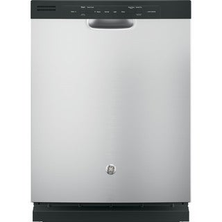 GE White and Black Stainless Steel and Plastic Full Console Dishwasher