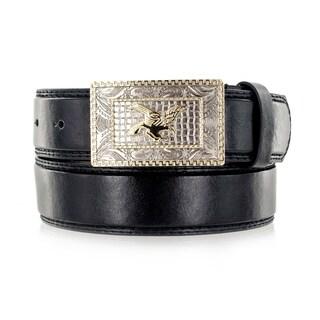 Faddism Unisex Golden Eagle Black Leather Belt