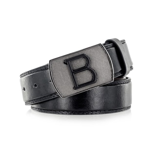 Faddism Unisex Big B Black Genuine Leather Belt