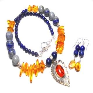 Focal Amber Lapis Lazuli Earrings Set
