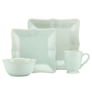 Lenox French Perle Bead Ice Blue Stonewarer Square 4-piece Place Setting