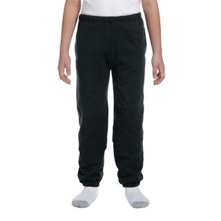 Super Sweats Boys' Black Polyester Sweatpants With Pockets
