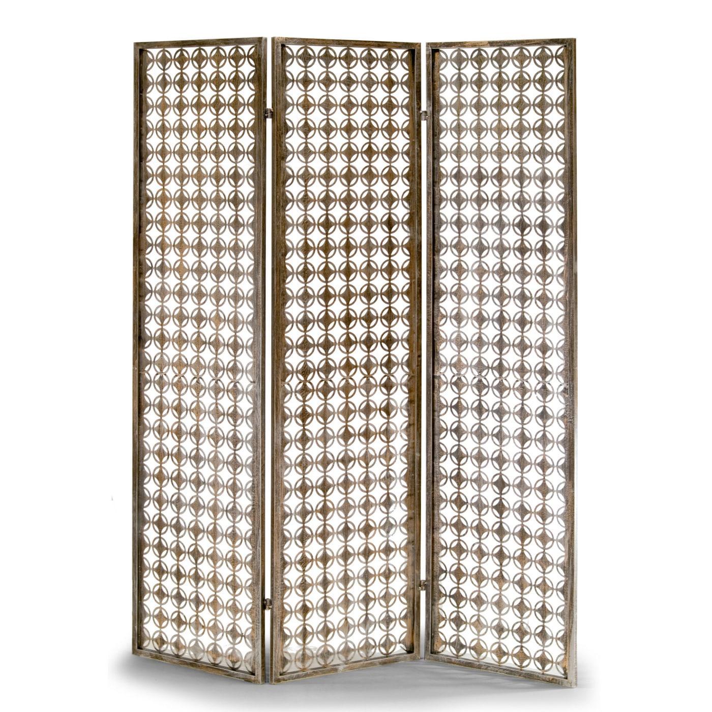 Glamour Abbey Three-panel Metal Folding Screen Antique-st...